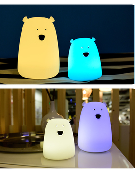 Fancy animal usb kids mini Portable Touch Sensor Rechargeable Cute Bear Silicone Led Small Night Light