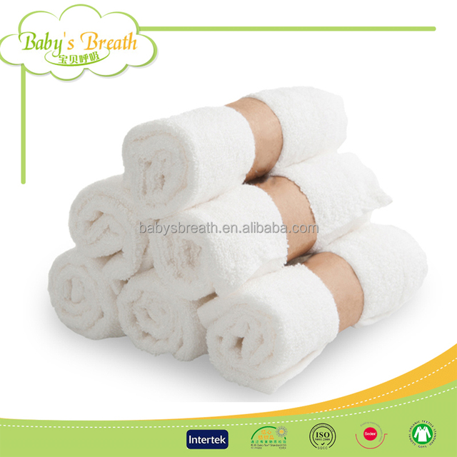 BCD061 Wholesale White Bamboo Baby Face Cloths Towels