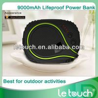 Le Touch 9000mAh Outdoor Waterproof Shock Proof Dust Proof Power Bank Portable battery station