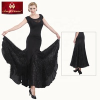 Ladies competition modern ballroom dancing wear with shine chiffon hem