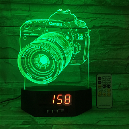 OEM color changing rechargeable battery powered touch switch night light 3D LED night lamp with Camera pattern