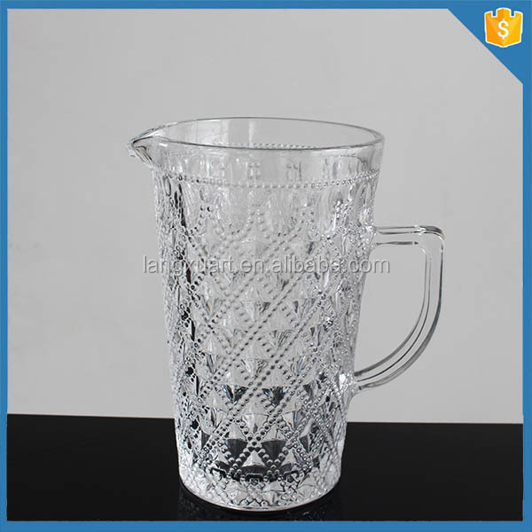 wholesale clear glass water jug set with side handle