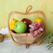 Wholesale creative Feature Decoration Apple Shape Folding Fruit Bamboo Basket