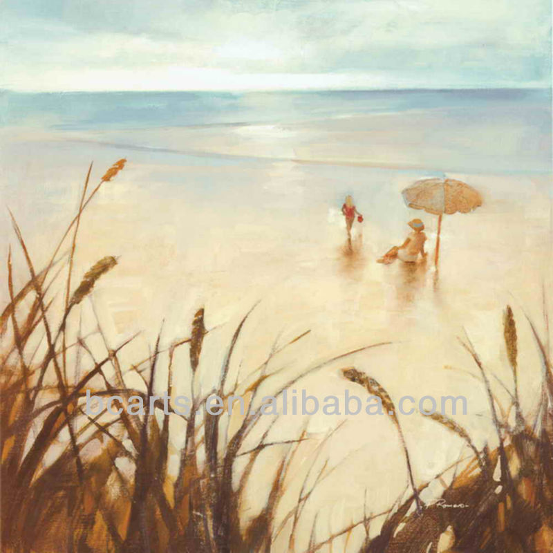Hand-painted impressionist nude girl on beach oil paintings, sunrise seascape beach for home interior design