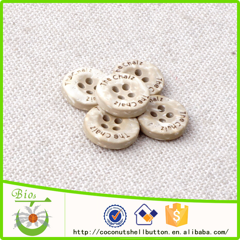 4 holes beige white custom laser logo sewing coconut buttons for shirts