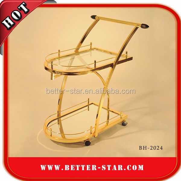Hotel Articles Luxury Golden Round Shape Hotel Liquor Trolley,Elegant Vintage Rolling Bar Cart/Equipment