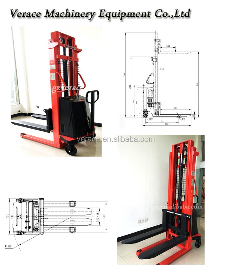 1Ton -2Tons 1.6Ms-3Ms total Hand Manual stacker Forklift fork lift truck
