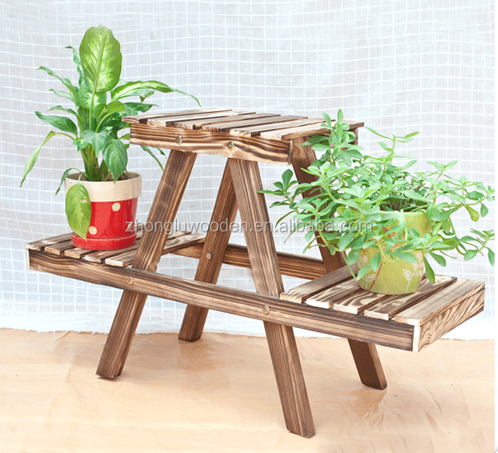Best price wooden rack for planter stand holder flower pot rack