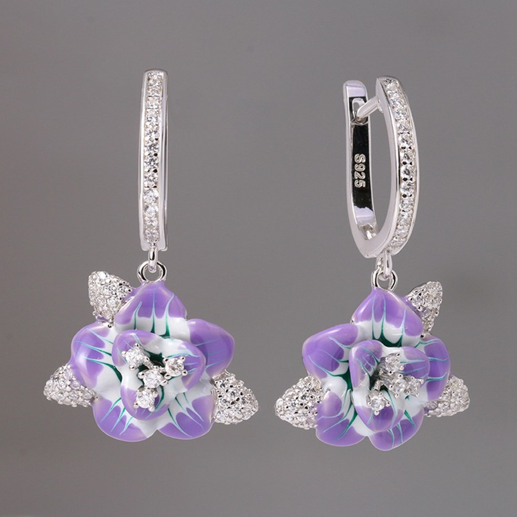 SP-006 925 Sterling Silver Earrings Jewelry Custom Enamel Stud Cloisonne Earrings