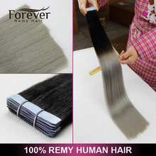 Forever 100% indian remy human 1B ombre color silver grey glue hair wefts extensions