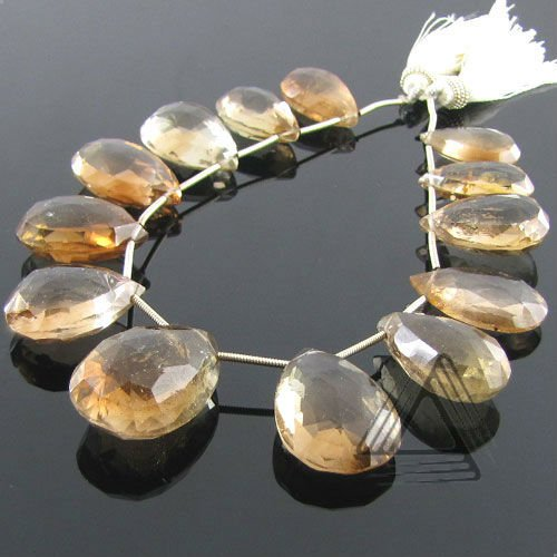 Champagne Topaz Pear Shape Briolette Strands, Natural Wholesale Semi Precious & Precious Color Gemstone, Loose Beads