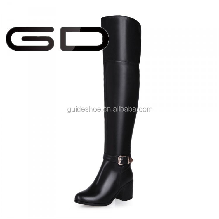 GD Thigh heel long over knee rubber boots real leather upper boots women