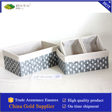 woven Non-woven fabric and paper rope basket with liner S/4