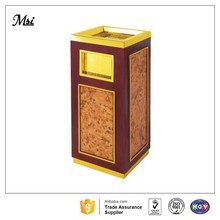 Hotel lobby steel and wood rubbish bin waste bin trash bin with ashtray