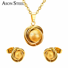 Spring new models fashion jewelry set top quality 316L sainless steel ball shape necklace earring set