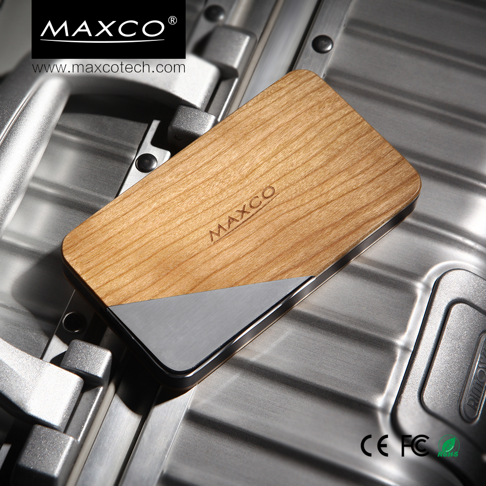 Maxco 8000mah power pack best fashion wooden slim power bank for mobile phone