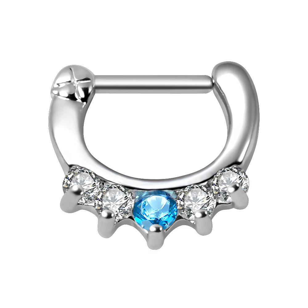 2018 New style Stainless Steel zircon septum clicker nose ring