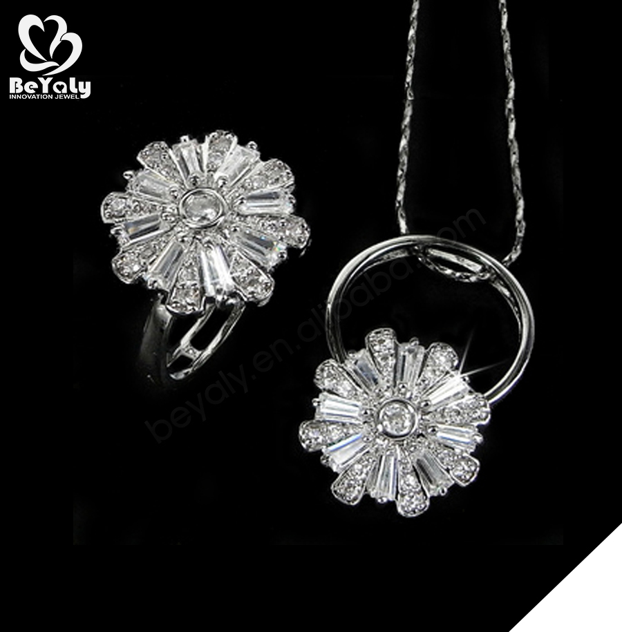 Fashion silver flower shape zircon jewelry wholesale