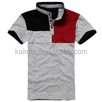 Newest design stand collar shirt design color combination for Two color shirt design