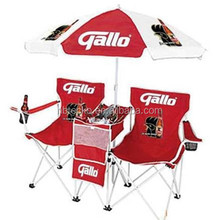 Custom logo double seat folding beach chair with umbrella
