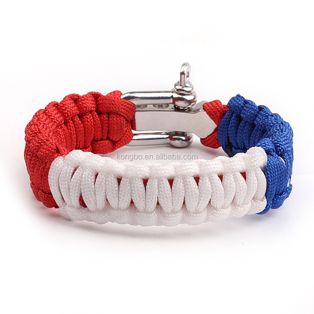 KongBo wholesale outdoor adjustable metal buckle paracord bracelet clasp for american flag