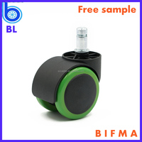 BIFMA Standard 50mm nylon PU stainless steel double casters for office seating