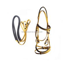 PVC horse racing rein and bitless bridle with horseband