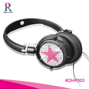 Wholesale bling sparkle gem decorative bulk bluetooth headphones cheap foldable headphone