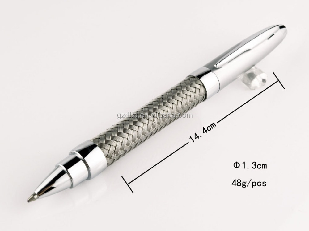 high quality advertising silver name branded woven metal pen