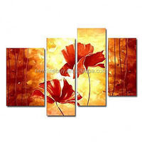 100% Hand-painted Floral 4 piece canvas Painting Chinese wall pictures for living room