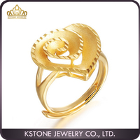 KSTONE 18K Gold Cute Wedding Engagement Love Heart Ring