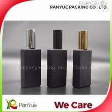 50ml square rectangle black glass men perfume bottle with screw neck for reffillable perfume