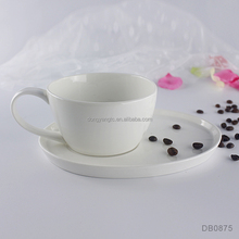 12oz 350ml plain white fine bone china ceramic coffee cup and plate latte low tea design shape elegant bisque eco cup and saucer