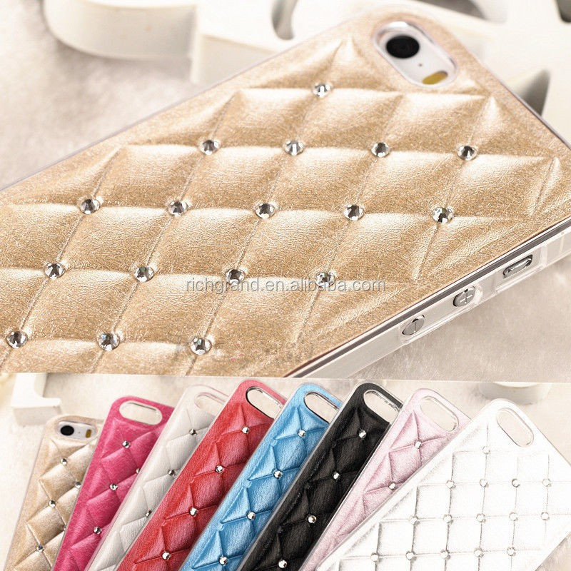 Handmade bling crystal leather hard back case cover for iphone 4 4s 5