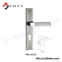 Two-tone alu lever with iron plate for door
