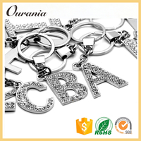 Customized Zinc Alloy Crystal Alphabet Keychain With letters Key Chain