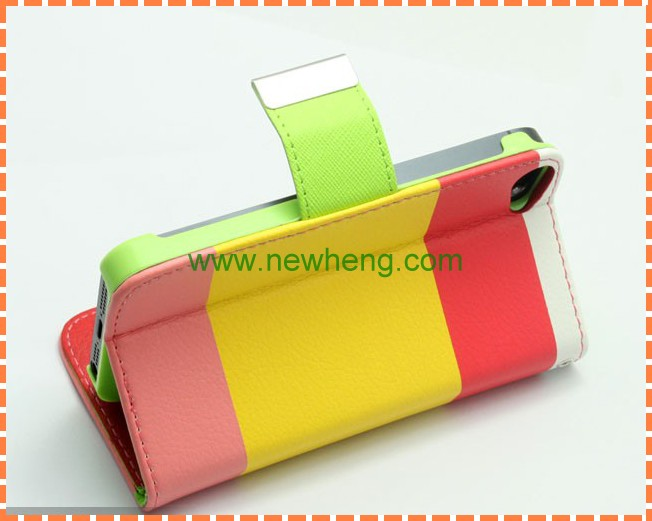 Contrast color PU leather case for iphone5/5s girl case with retail package