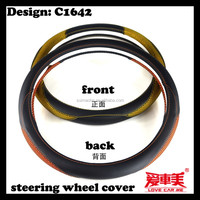 customized design PU leather with wave mesh fours seasons universal steering wheel cover