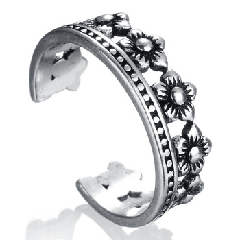 RI00088 Yiwu WT fashion simple ancient silver female crown,plant flower openings ring wholesale