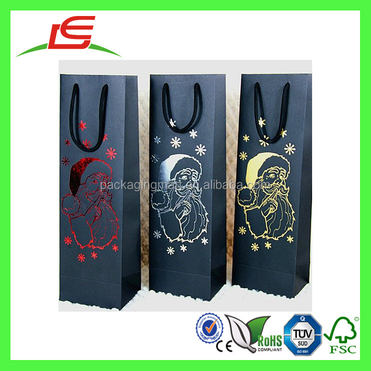 J879 Shenzhen Factory Wholesale Luxury Custom Wine Paper Pags with Rope