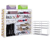 6 layers 2 doors foldable easy assemble shoe storage +dust cover shoe cabinet
