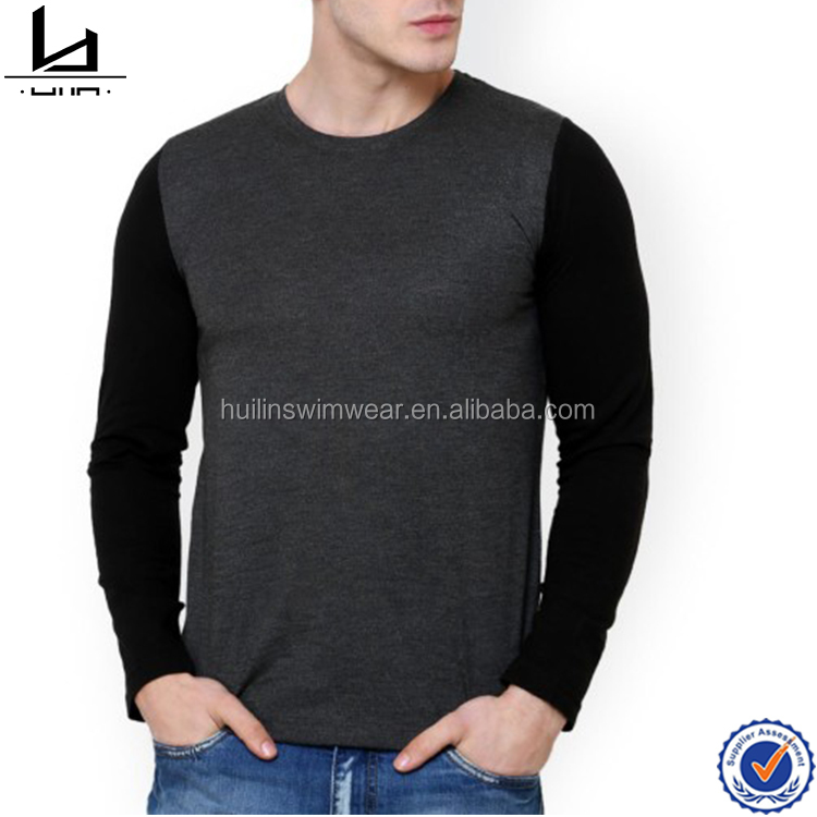 Top brand latest fashion long sleeve t shirt grey and black slim fit long sleeves blank t-shirt cheap China wholesale clothing