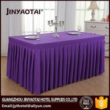 Hot sale star restaurant hotel polyester materials in table skirting beige color