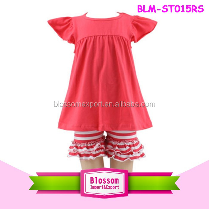 2017 Boutique Tunic Top & Icing Shorts set Feather Printed Children Flutter Sleeve Tunic Dress With Icing Short