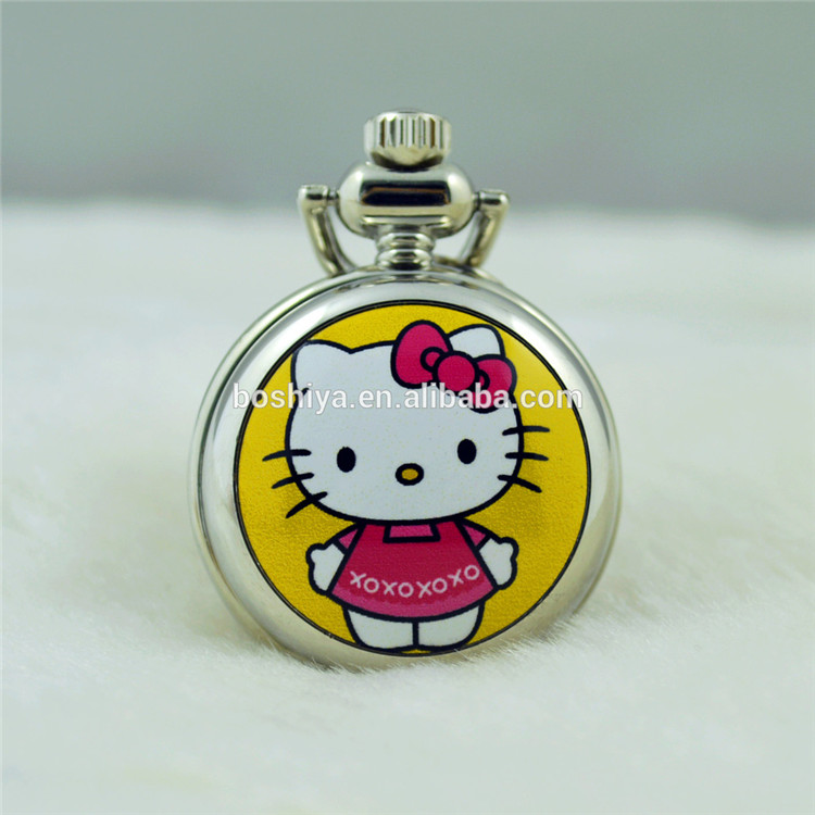 Hello Kitty Custom Quartz Pocket Watch Japan Movement Enamel Case
