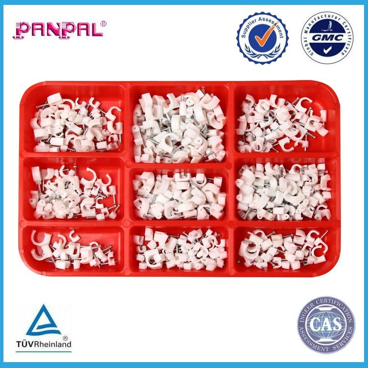 China factory supply plastic white circle cable clip with steel nail,pack of 375 pieces