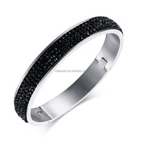 2016 newest half pave black shiny rhinestone design silver bangle for women high quality stainless steel jewelry