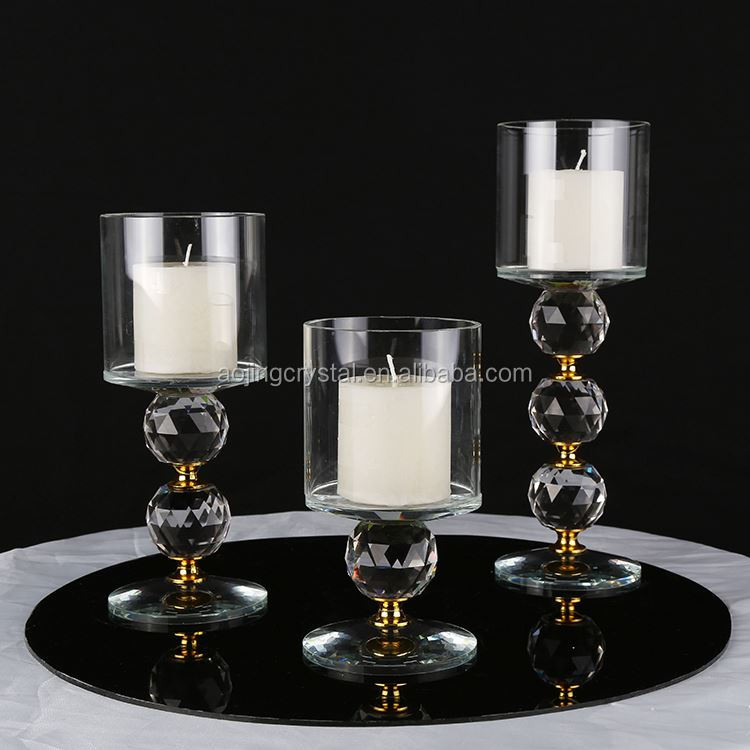 Hot selling strong packing block crystal candle holder with different size