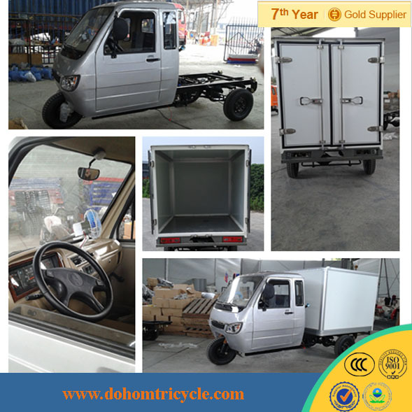 2014 hot-selling moto cargo tricycle with cabin closed