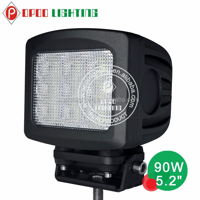 Square 90w led driving light, led off road light for suv track 4x4 4wd use